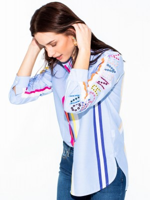 DPVER EMBROIDERED SHIRT RAINBOW STRIPE