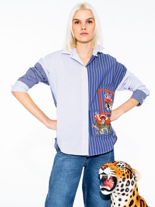ELSA EMBROIDERED SHIRT BLUE STRIPE