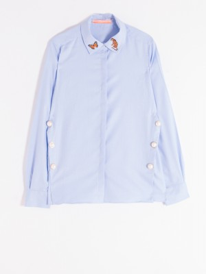 MARTINA EMBROIDERED SHIRT BLUE PANAMA