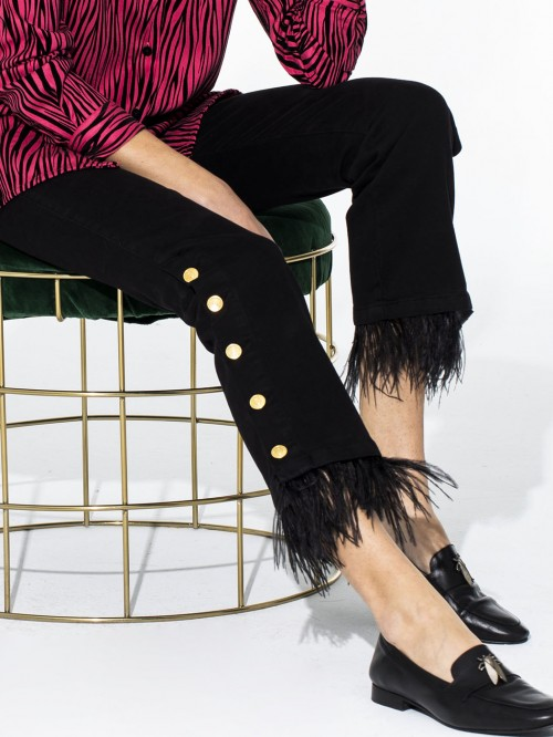 FABIOLA TROUSERS BLACK FEATHERS