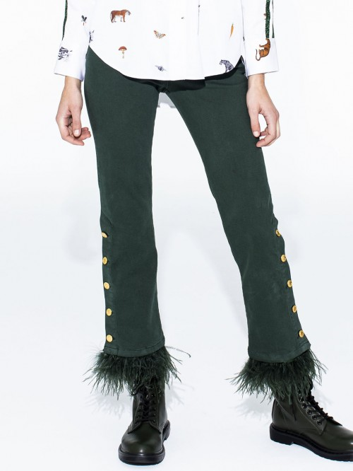 FABIOLA TROUSERS GREEN FEATHERS