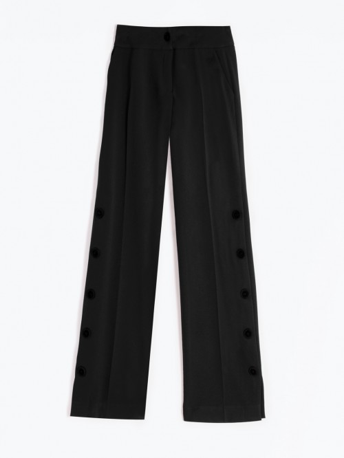 NATALIA TROUSERS IN BLACK CREP