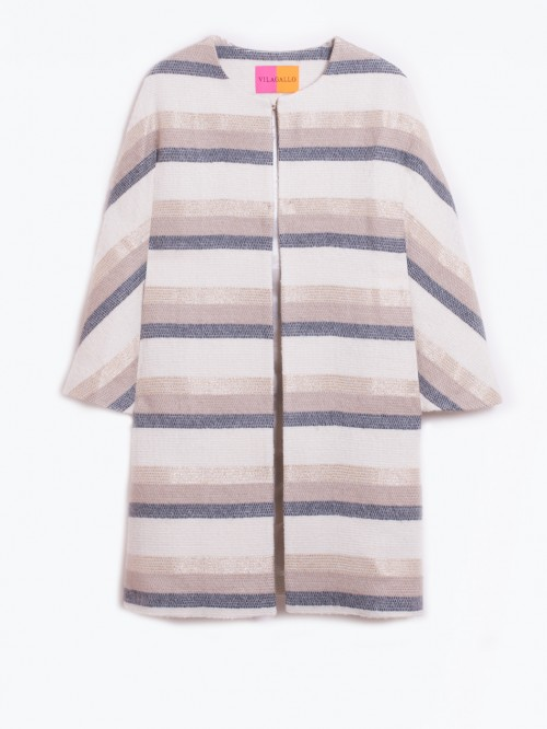 CONIE GOLD ECRU STRIPES COAT