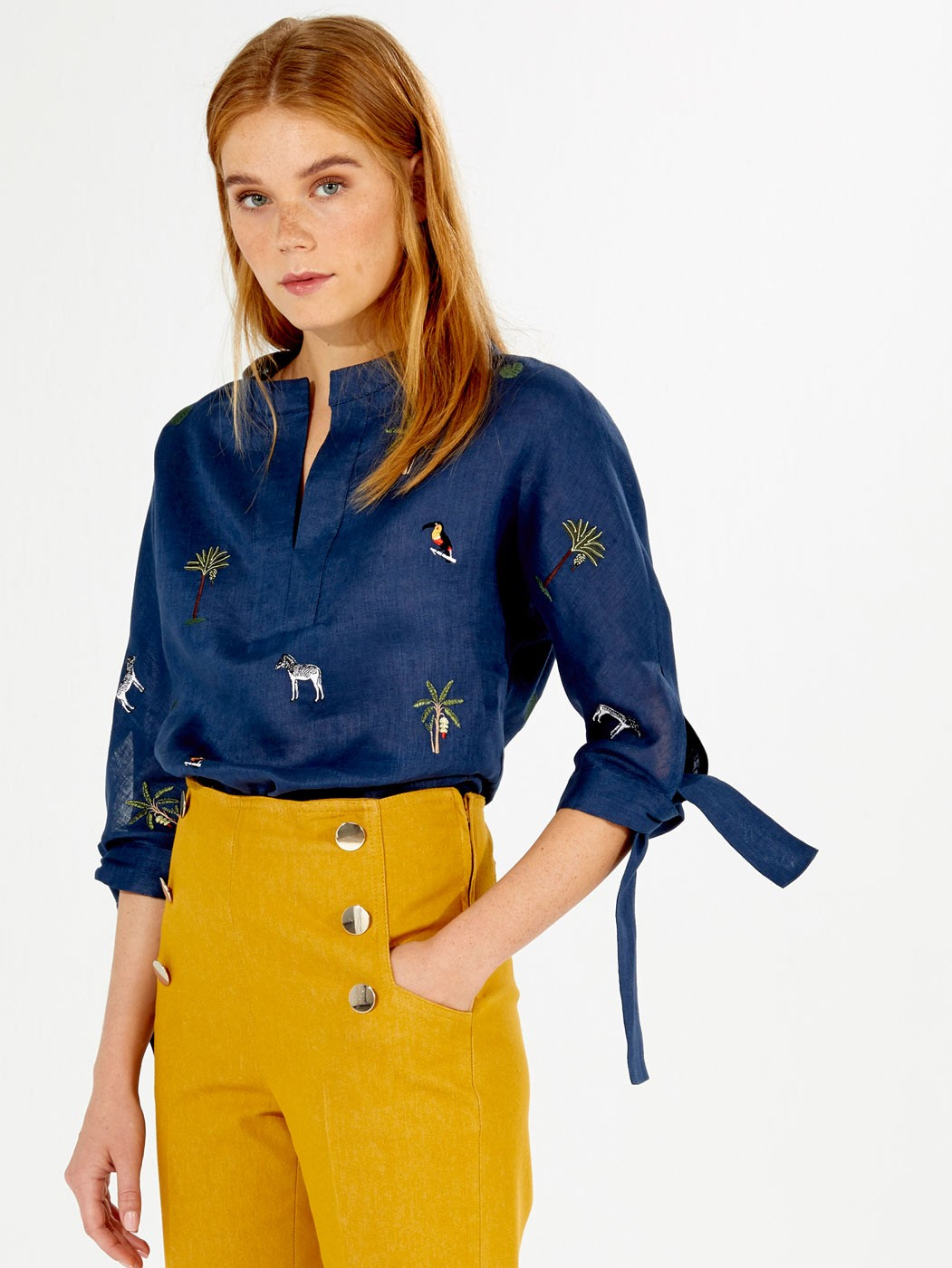 EMBROIDERED ABBY SHIRT NAVY LINEN