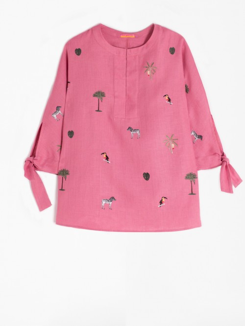 EMBROIDERED ABBY SHIRT SLATE ROSE LINEN