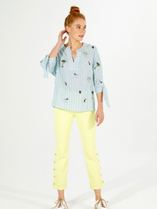 EMBROIDERED ABBY SHIRT VIAREGGIO STRIPES