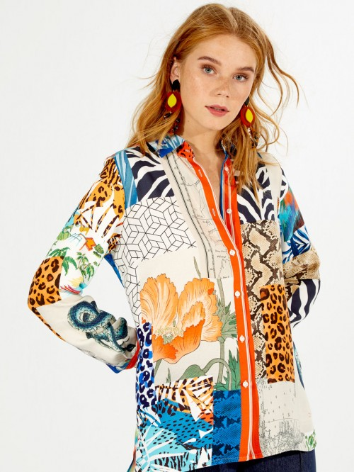 CAMISA DOVER SUMMER COLLAGE PRINT