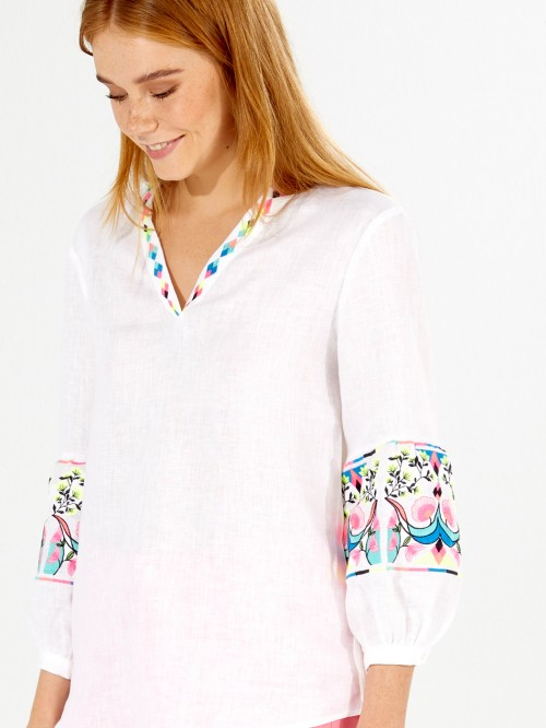 EMBROIDERED VIVIANNE SHIRT WHITE LINEN