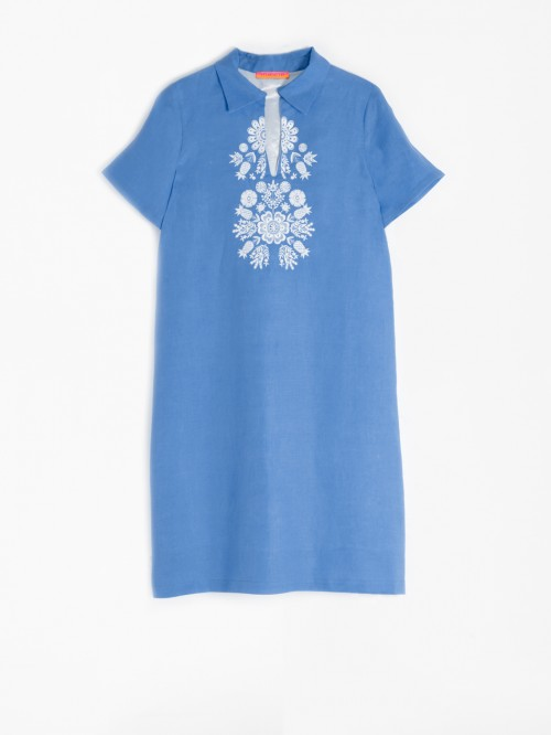 EMBROIDERED LAIA DRESS OCEAN BLUE LINEN