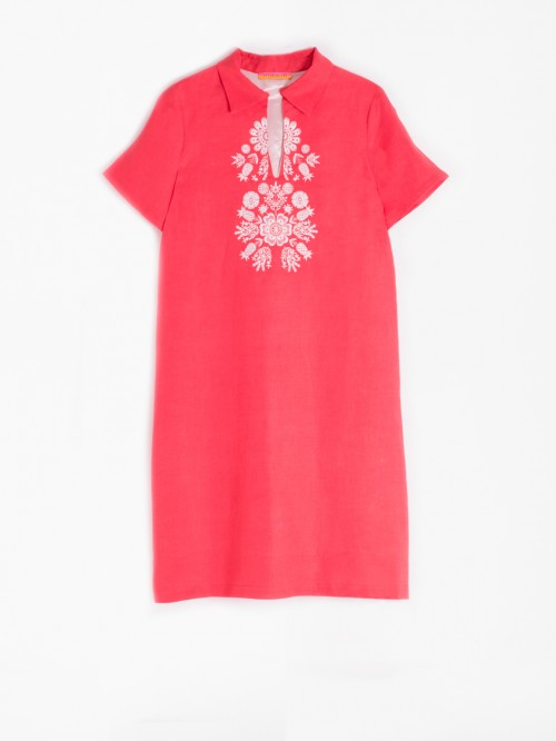 EMBROIDERED LAIA DRESS CORAL LINEN