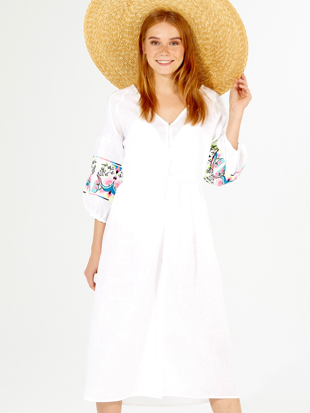 AURORA EMBROIDERED DRESS WHITE LINEN