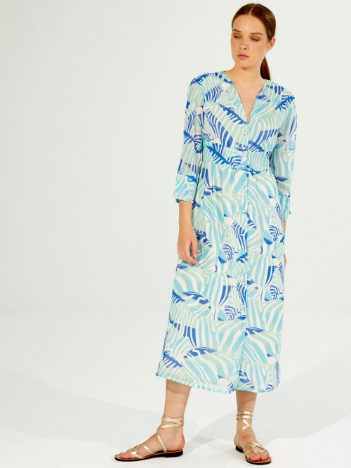 SATINA DRESS BLUE SABANA PRINT