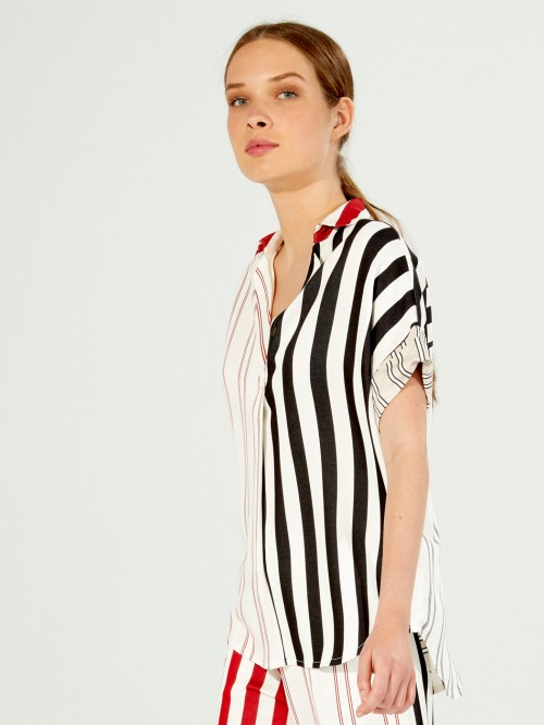 MONICA SHIRT RED L STRIPES