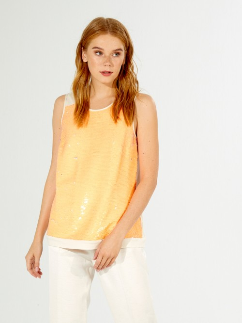 CONSTANCE SHIRT ORANGE SEQUINS