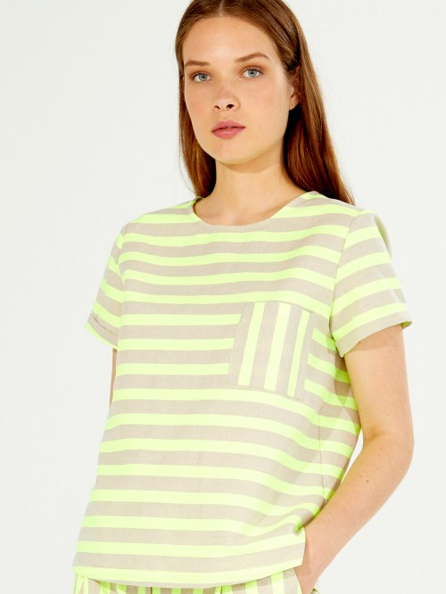 CANDY SHIRT LIME FLUOR STRIPES