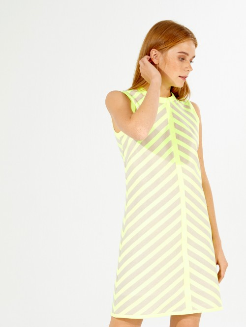 VESTIDO ANDREA LIME FLUOR STRIPES