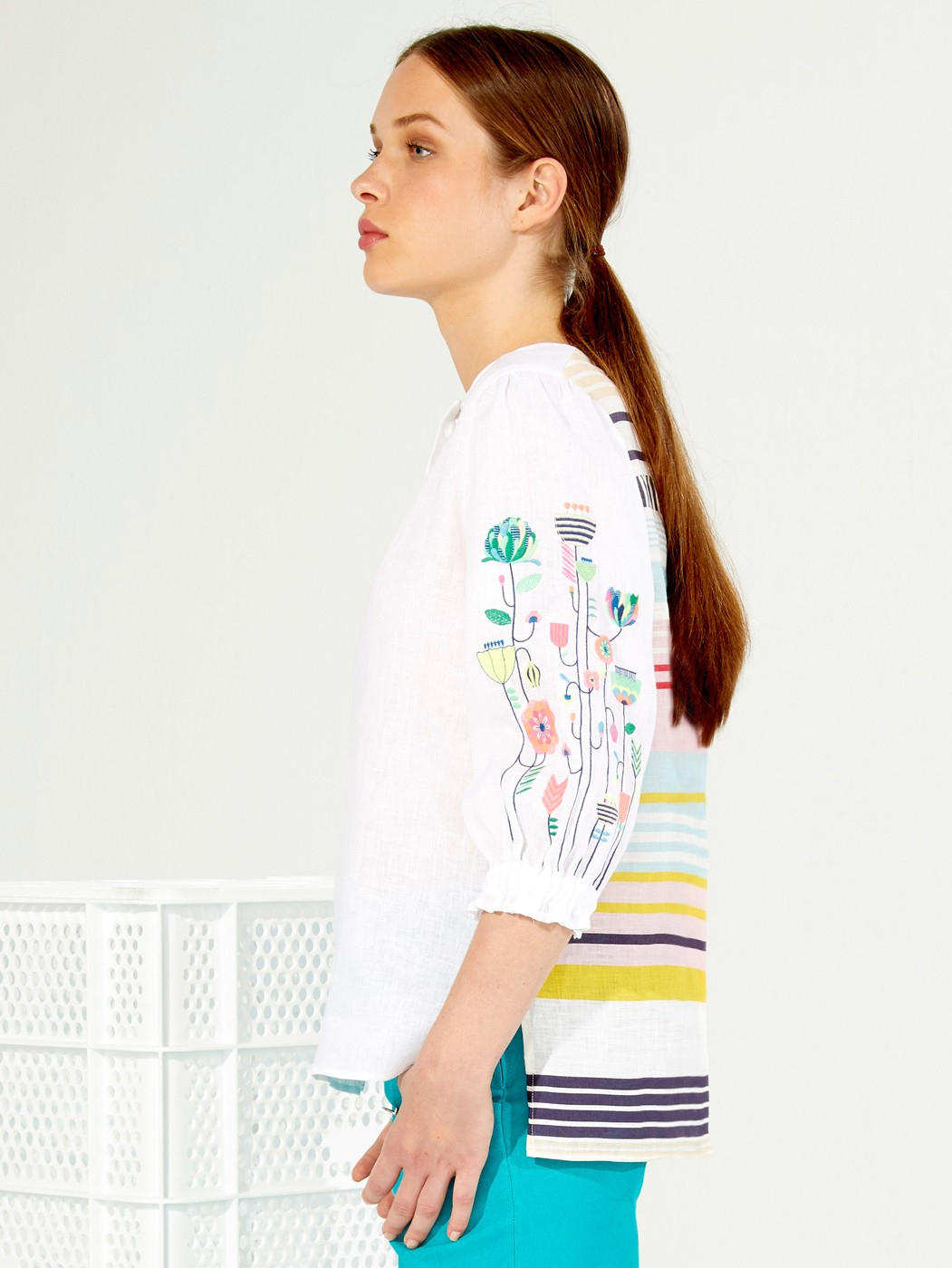 EMBROIDERED KAREN SHIRT WHITE LINEN