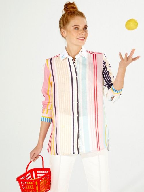 EMBROIDERED DOVER SHIRT BORACAY LINEN STRIPE