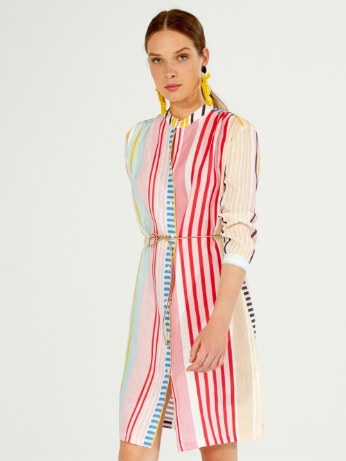 BIANCA DRESS BORACAY LINEN STRIPE