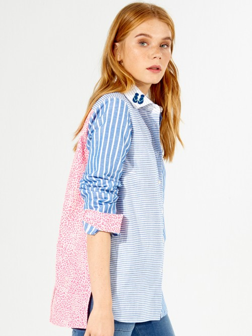 EMBROIDERED DOVER SHIRT BLUE STRIPES