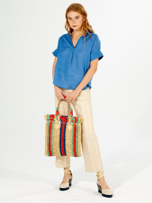 MONICA SHIRT OCEAN BLUE LINEN
