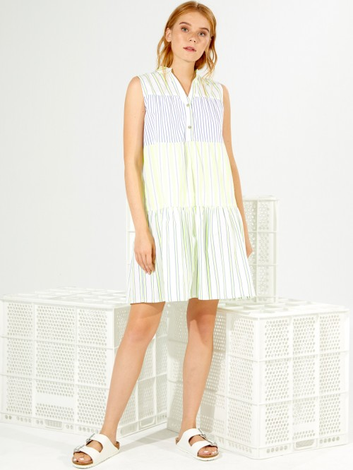 VERA DRESS LIME BLUE STRIPE
