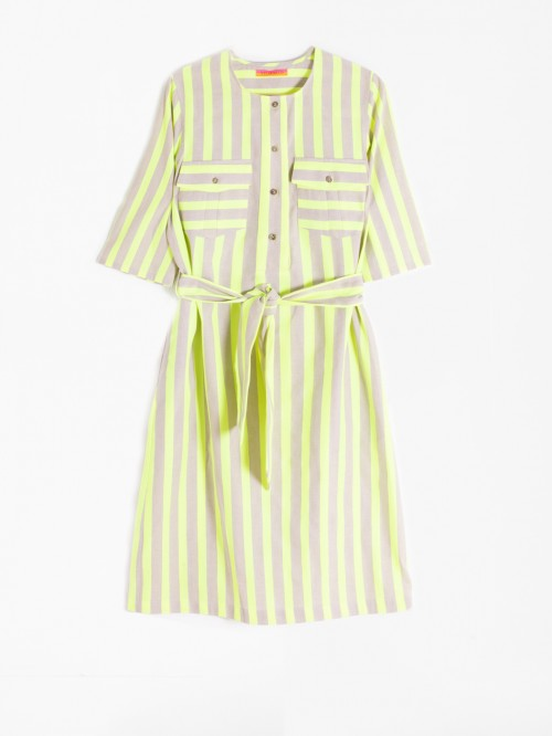 VESTIDO SABINE LIME FLUOR STRIPES