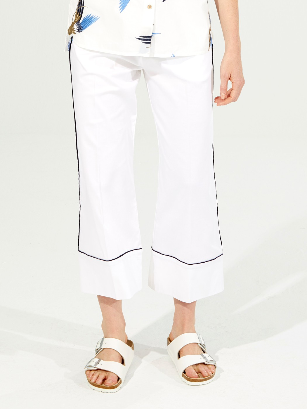 SANDRA TROUSERS WHITE COTTON EA