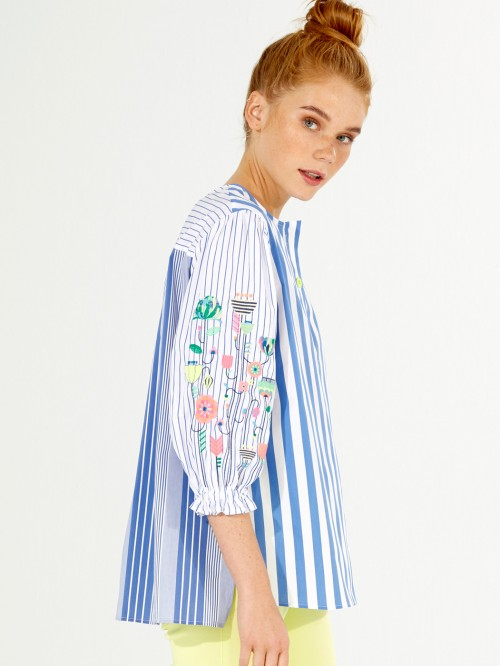 EMBROIDERED KAREN SHIRT BLUE MILAN