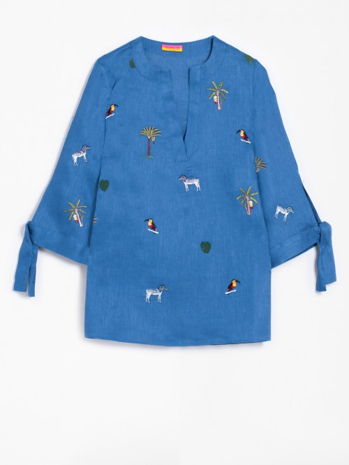 EMBROIDERED ABBY SHIRT OCEAN BLE PURE LINEN