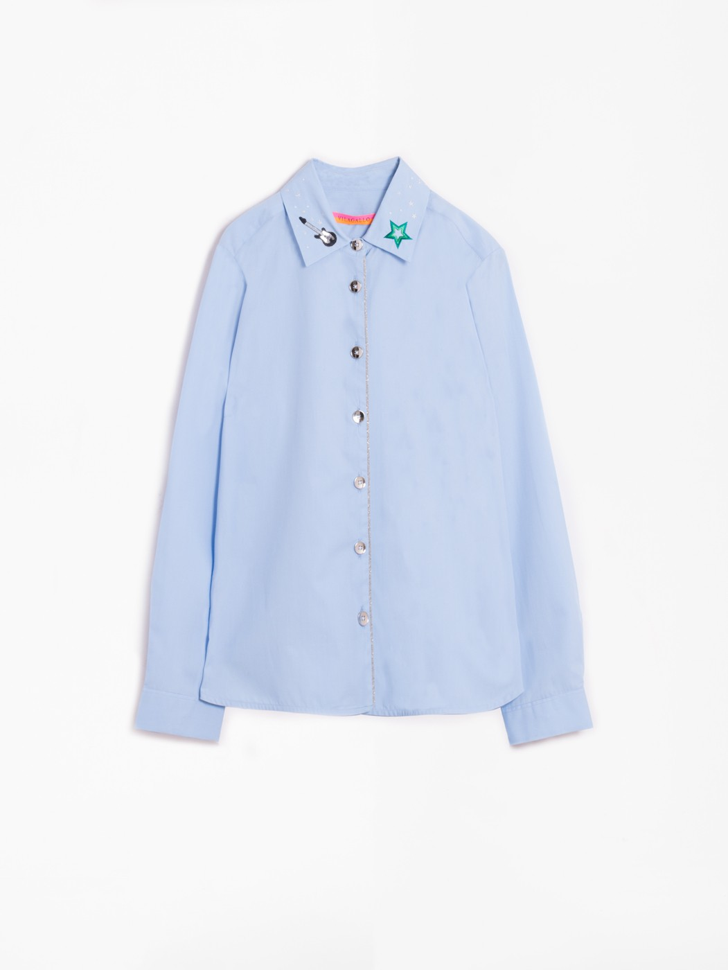 ISABELLA EMBROIDERY SHIRT BLUE POPPLIN