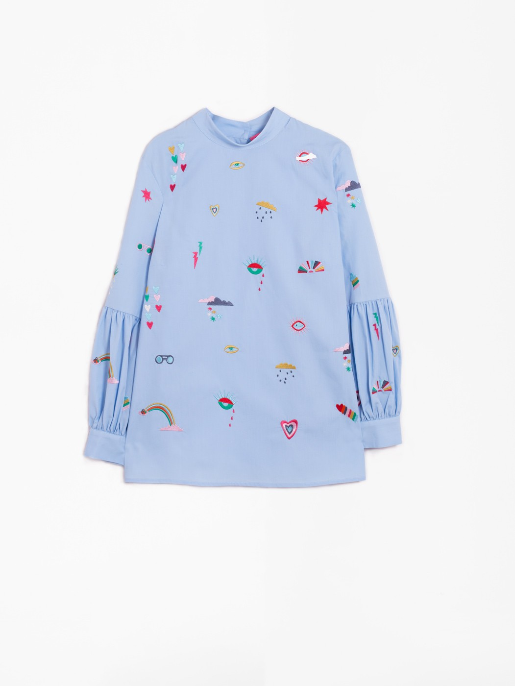 LOLA EMBROIDERY SHIRT BLUE POPPLIN