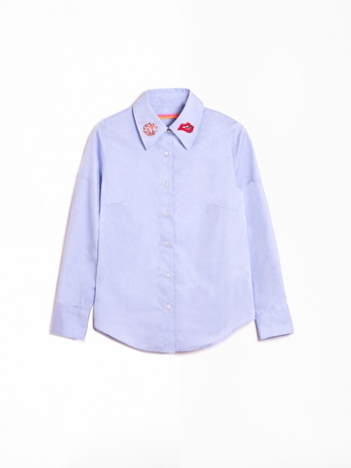 MAFALDA EMB BLUE OXFORD SHIRT