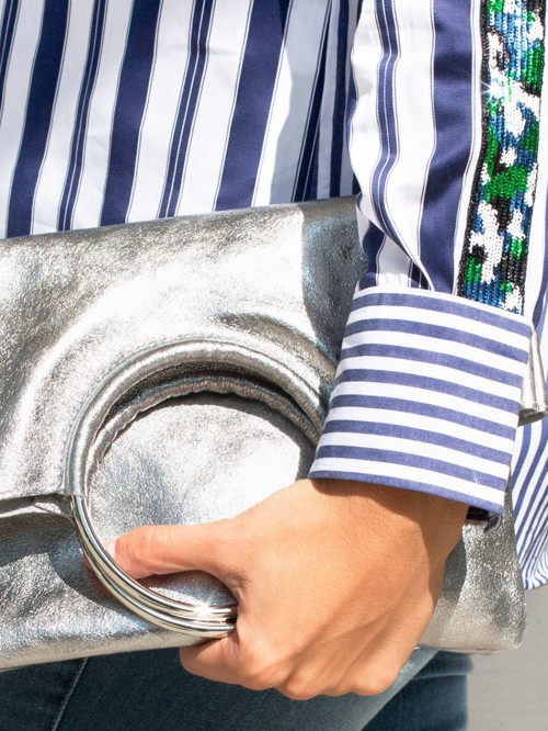 BECK SILVER LEATHER BAG