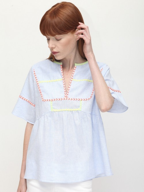 CAMISA MAMCEY BLUE LINEN/COTTON