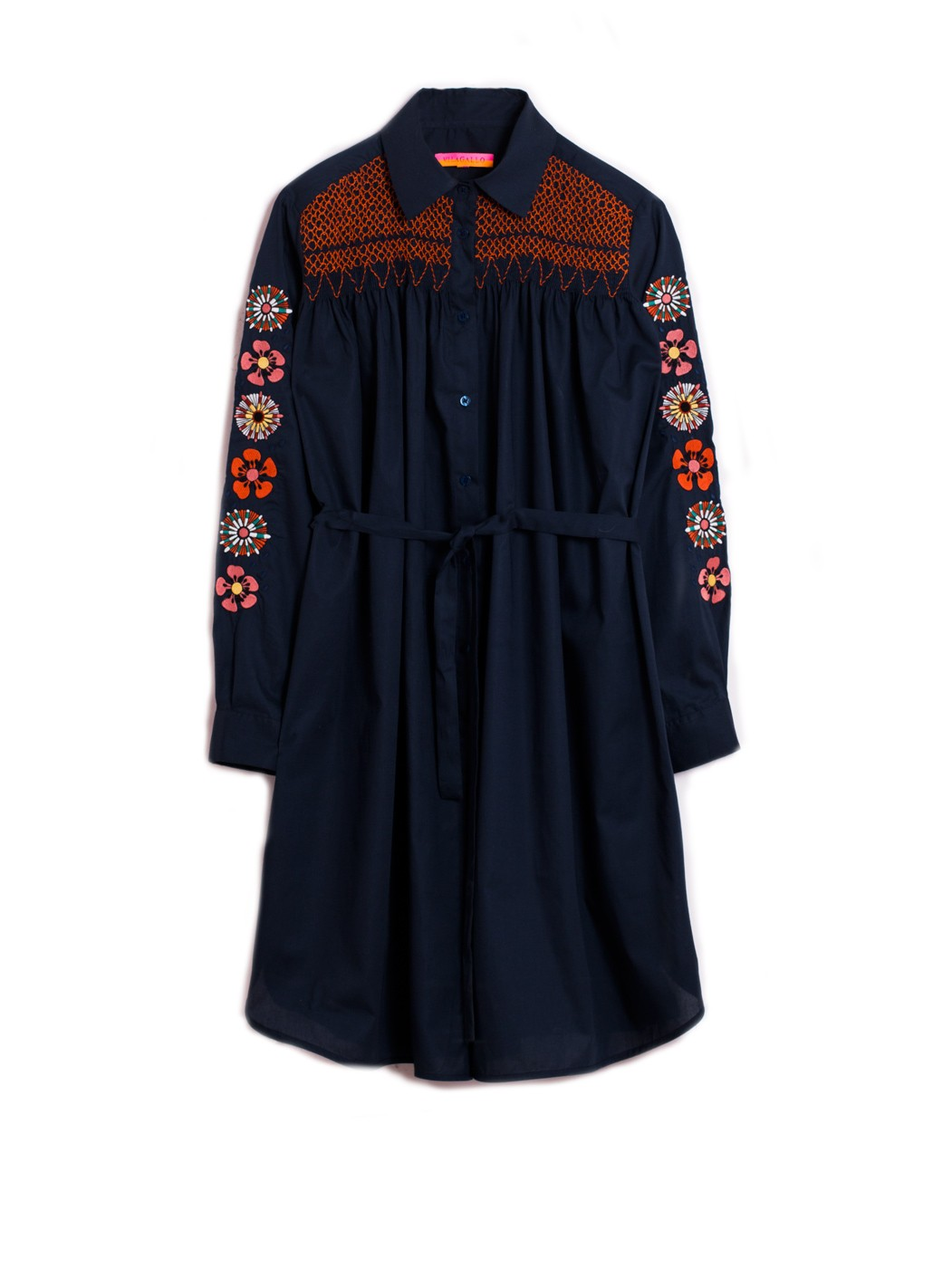 ANDREA EMB DRESS VOILE NAVY