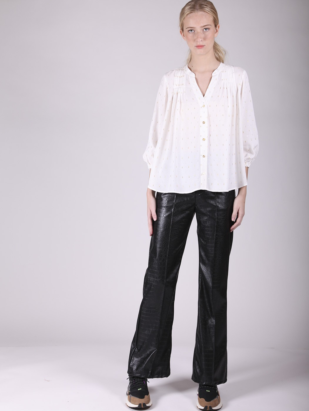 BESS BLACK STAMPA COCCO TROUSER