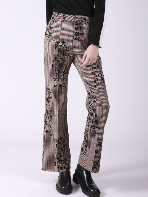 BESS OXFORD CHECK FLOC TROUSER