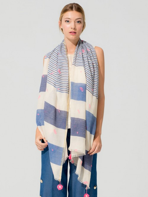 FOULARD EMBROIDERED STRIPES