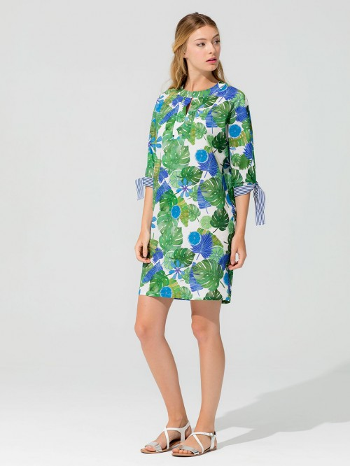ANABELLA DRESS TROPICAL BLUE VOILE