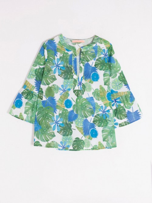 CAMISA TANA TROPICAL BLUE VOILE