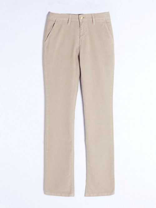BOOT CUT TROUSERS BEIGE CORD